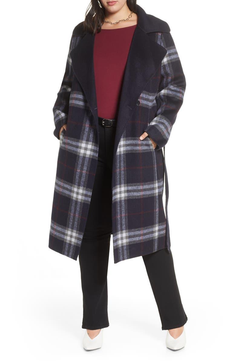 HALOGEN<SUP>®</SUP> Plaid Belted Coat, Main, color, 410