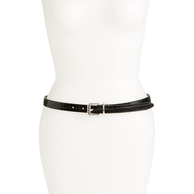 Rebecca Minkoff Reversible Leather Skinny Belt, Black