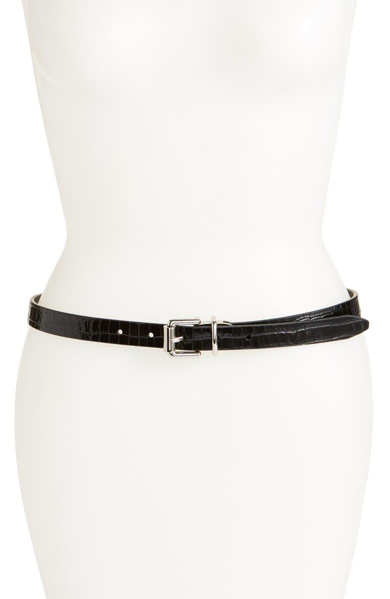 REBECCA MINKOFF Reversible Leather Skinny Belt, Main, color, 001