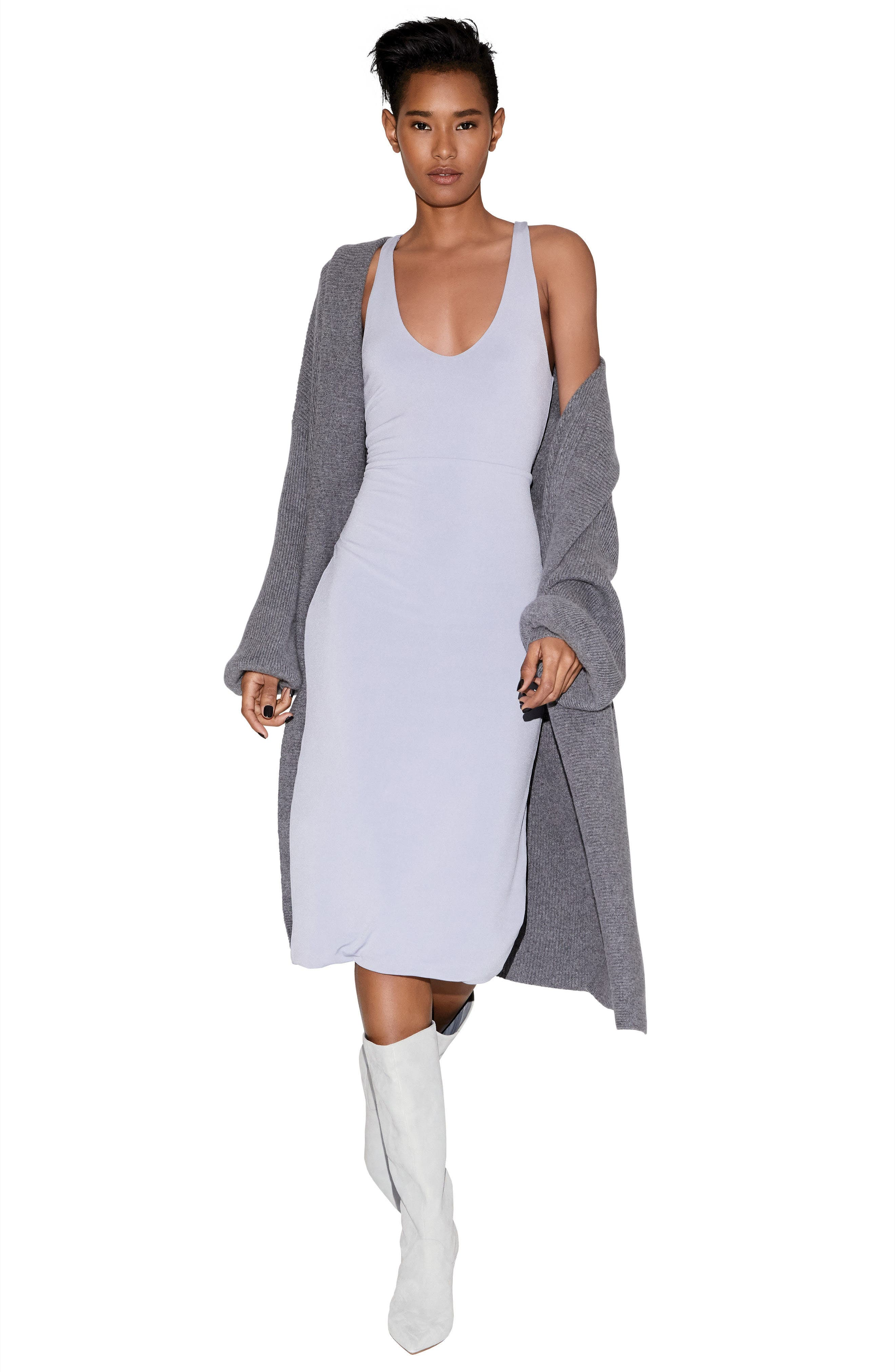 ,                             Blouson Sleeve Long Cashmere Cardigan,                             Alternate thumbnail 8, color,                             032