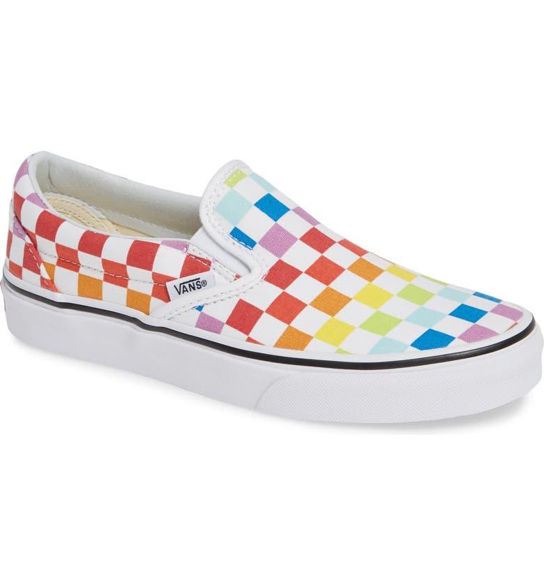 VANS 'Classic' Slip-On, Main, color, RAINBOW/ TRUE WHITE