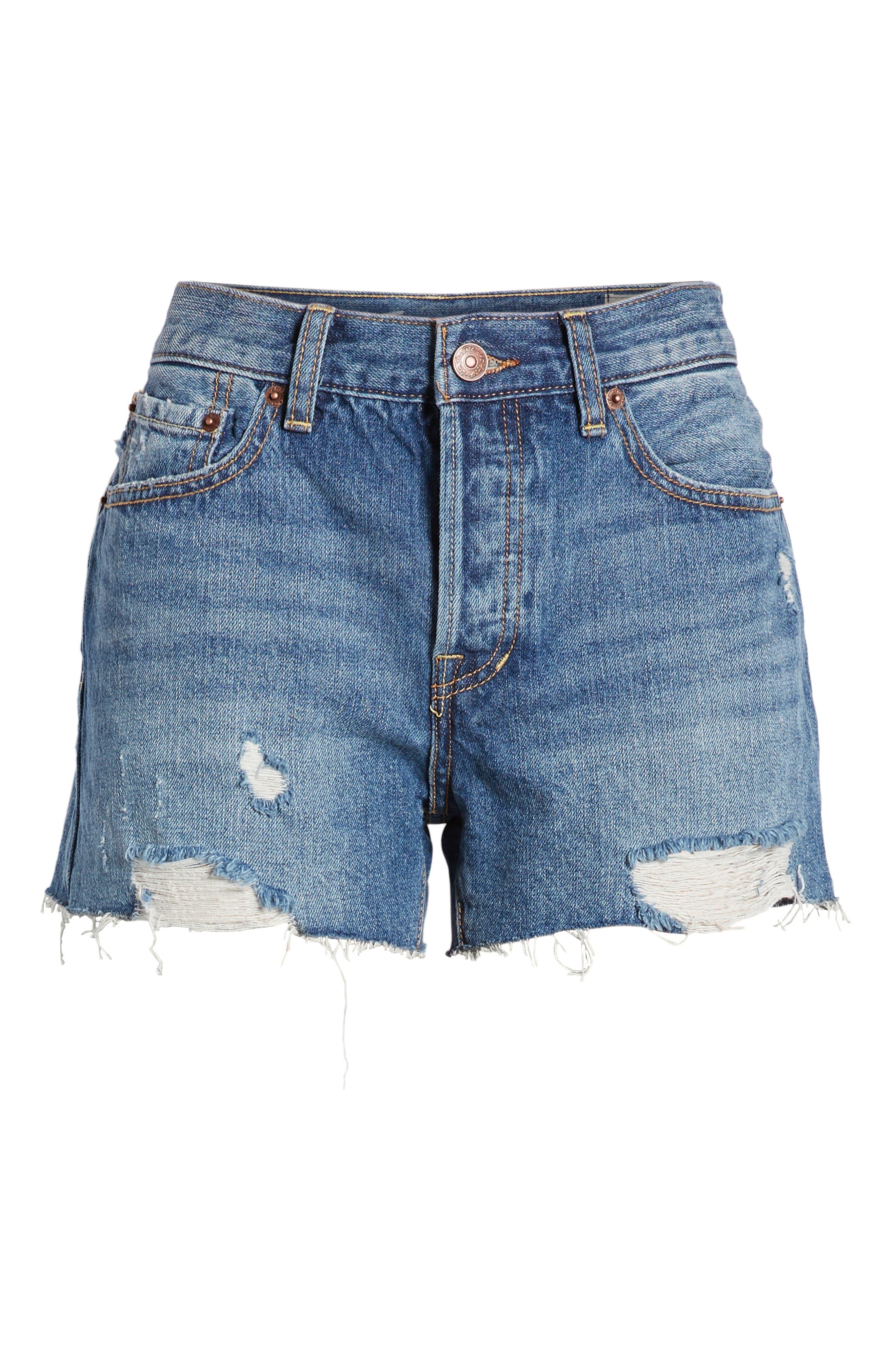 ,                             Sofia Cutoff Denim Shorts,                             Alternate thumbnail 7, color,                             DENIM BLUE
