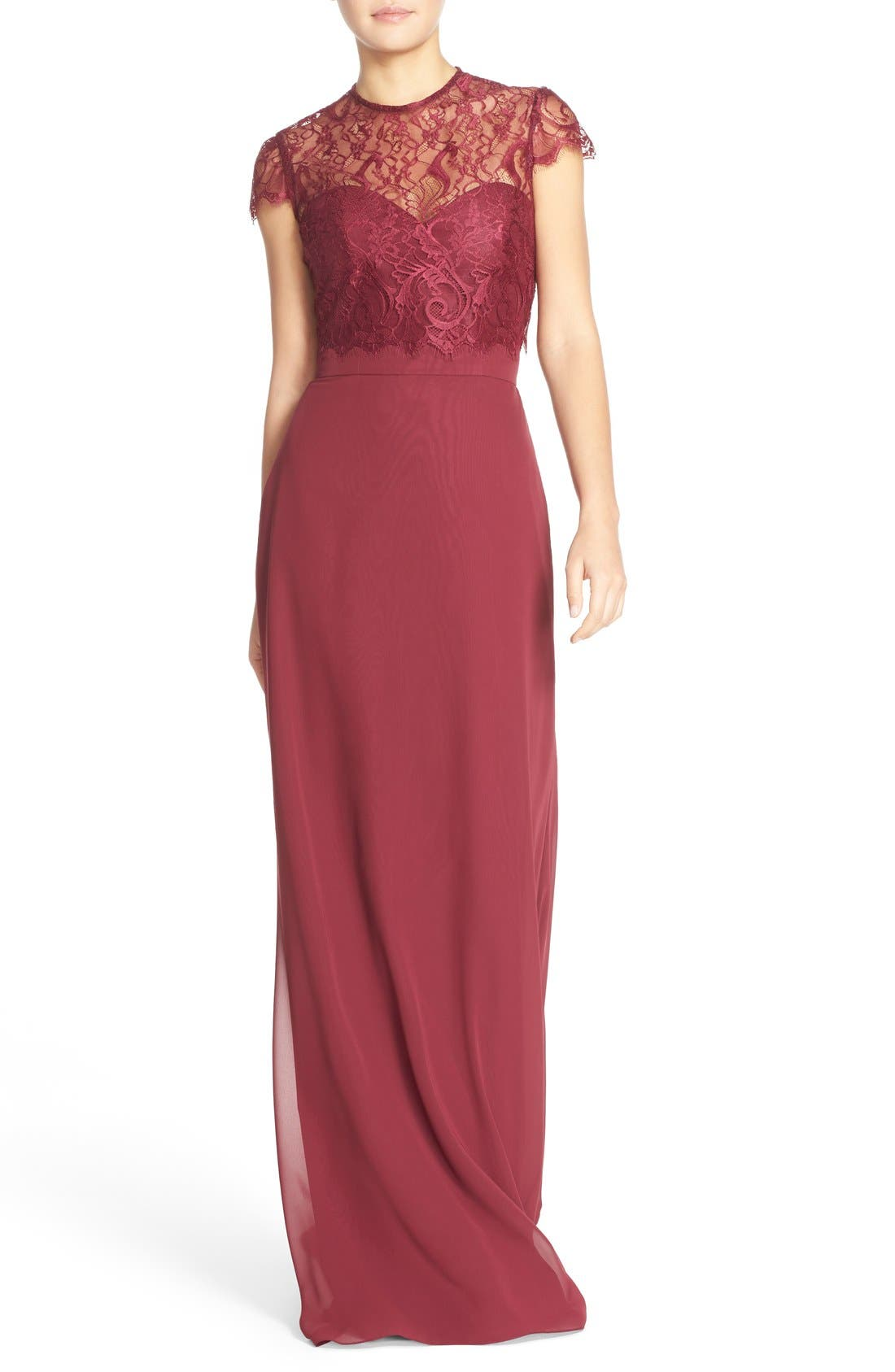,                             Strapless Chiffon A-Line Gown with Removable Lace Overlay,                             Main thumbnail 13, color,                             930