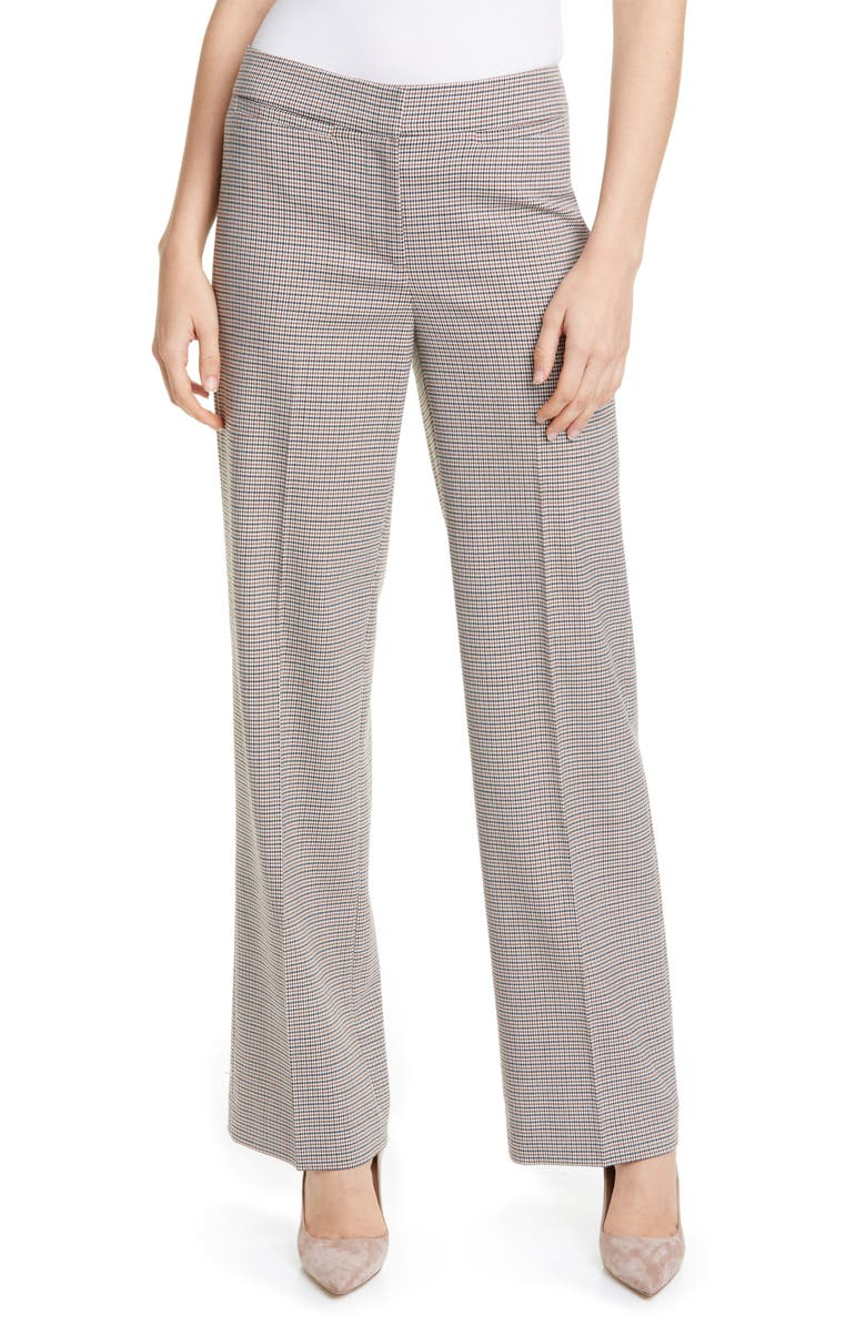 NORDSTROM SIGNATURE Houndstooth Check Wide Leg Trousers, Main, color, IVORY MINI HOUNDSTOOTH