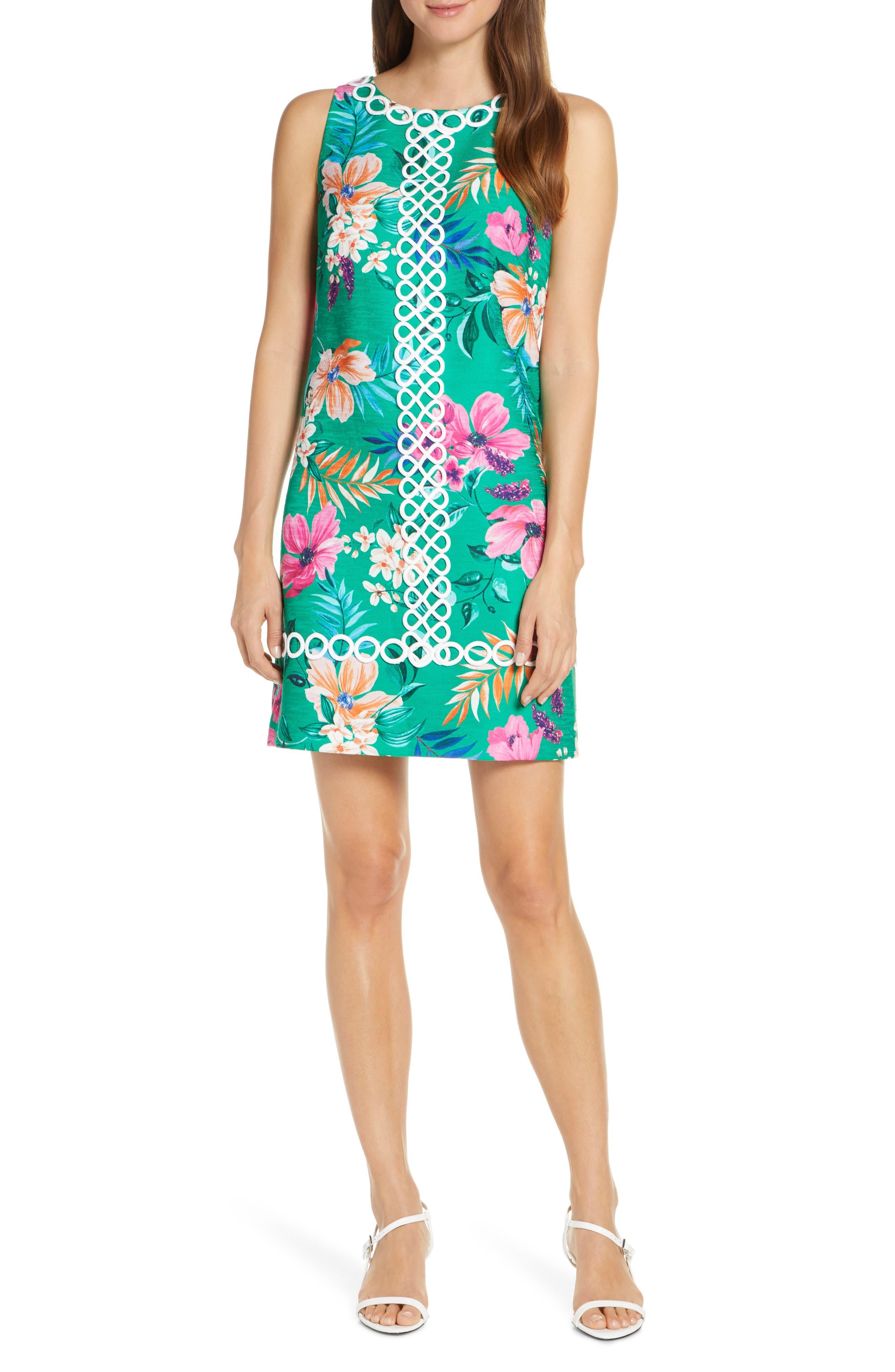 Eliza J Floral Print Sleeveless Jacquard Dress, Green