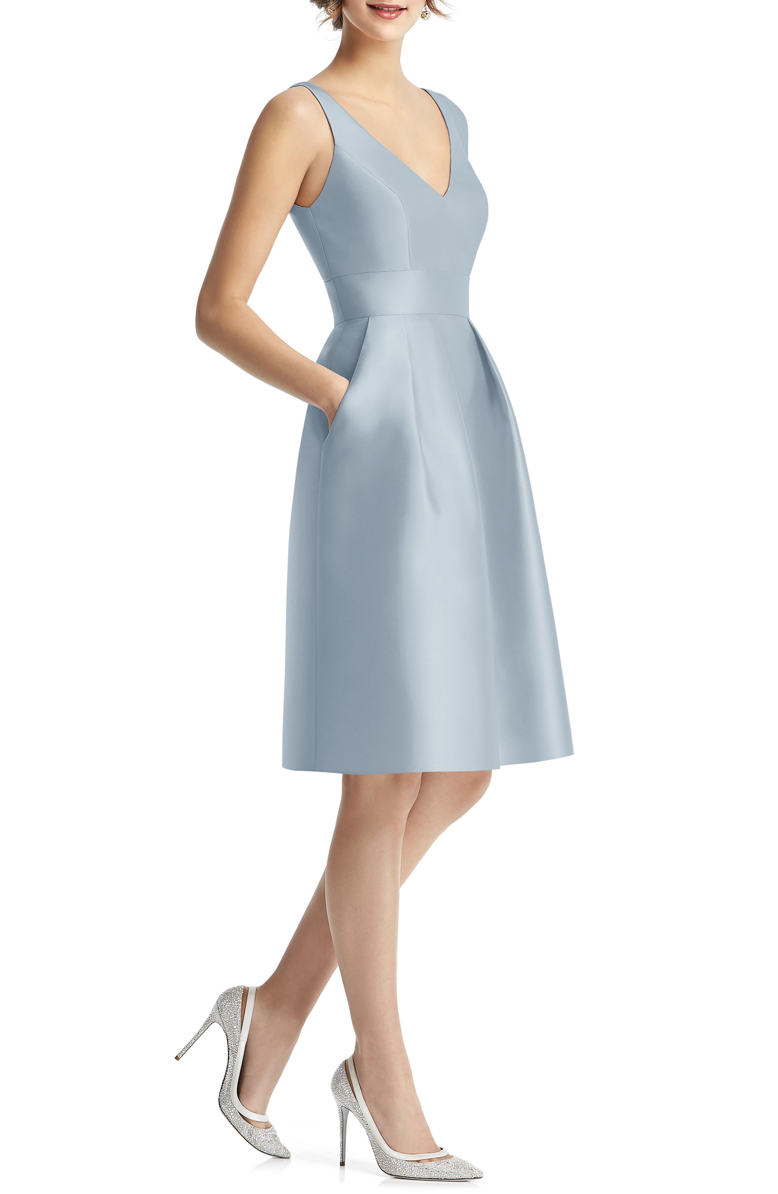 Alfred Sung V-Neck Satin Cocktail Dress, Blue