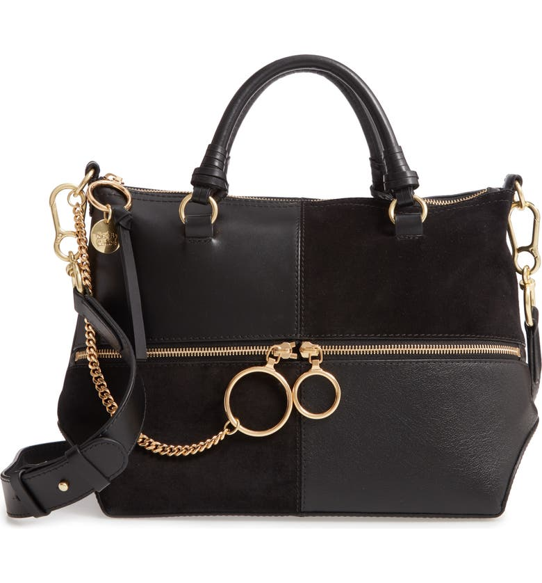 SEE BY CHLOÉ Emy Suede & Leather Satchel, Main, color, BLACK