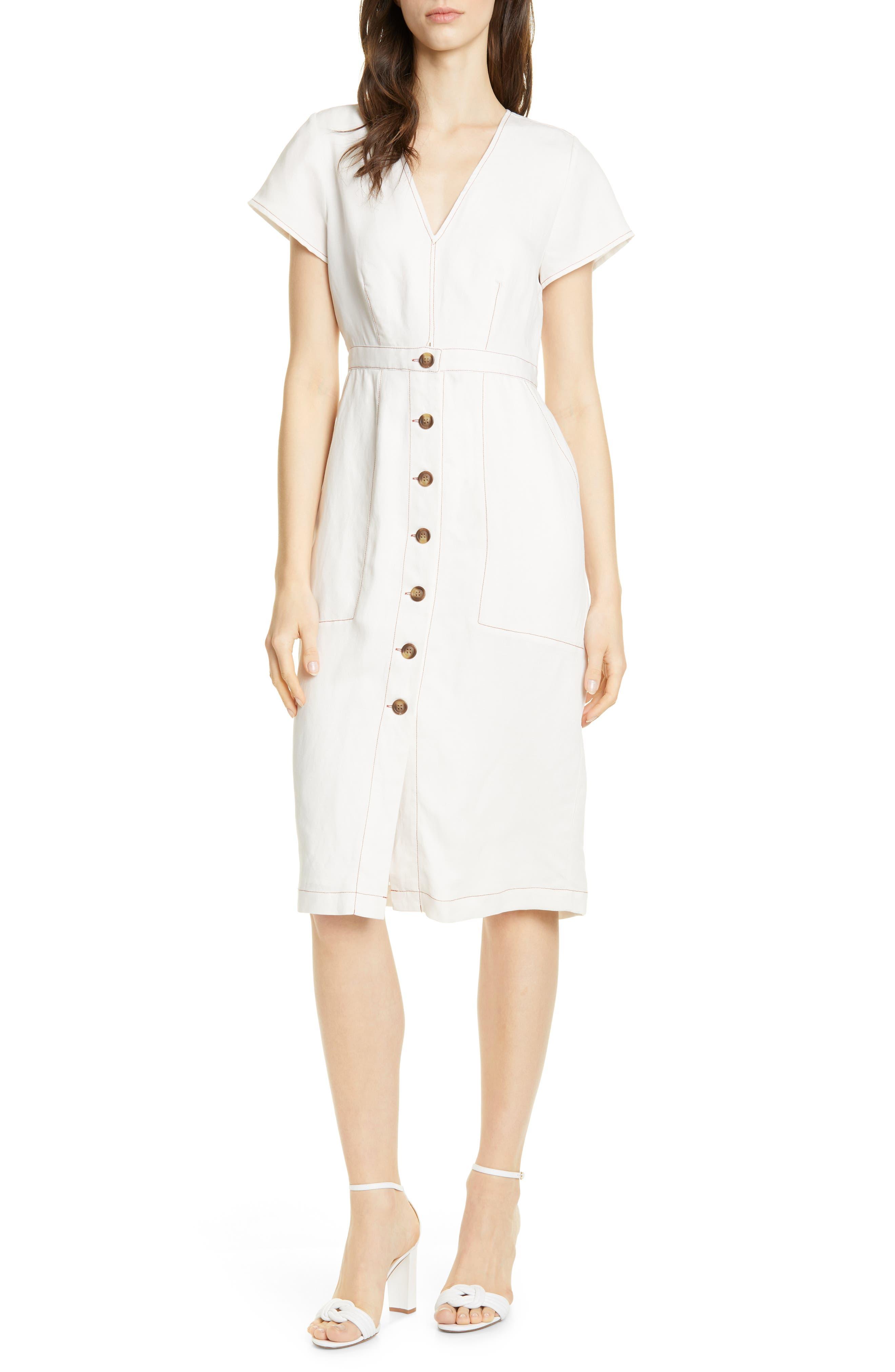 Dolan Rigby Topstitch Detail Button Front Midi Dress, White