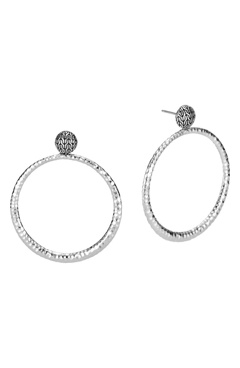 JOHN HARDY Classic Chain Hammered Round Earrings, Main, color, SILVER