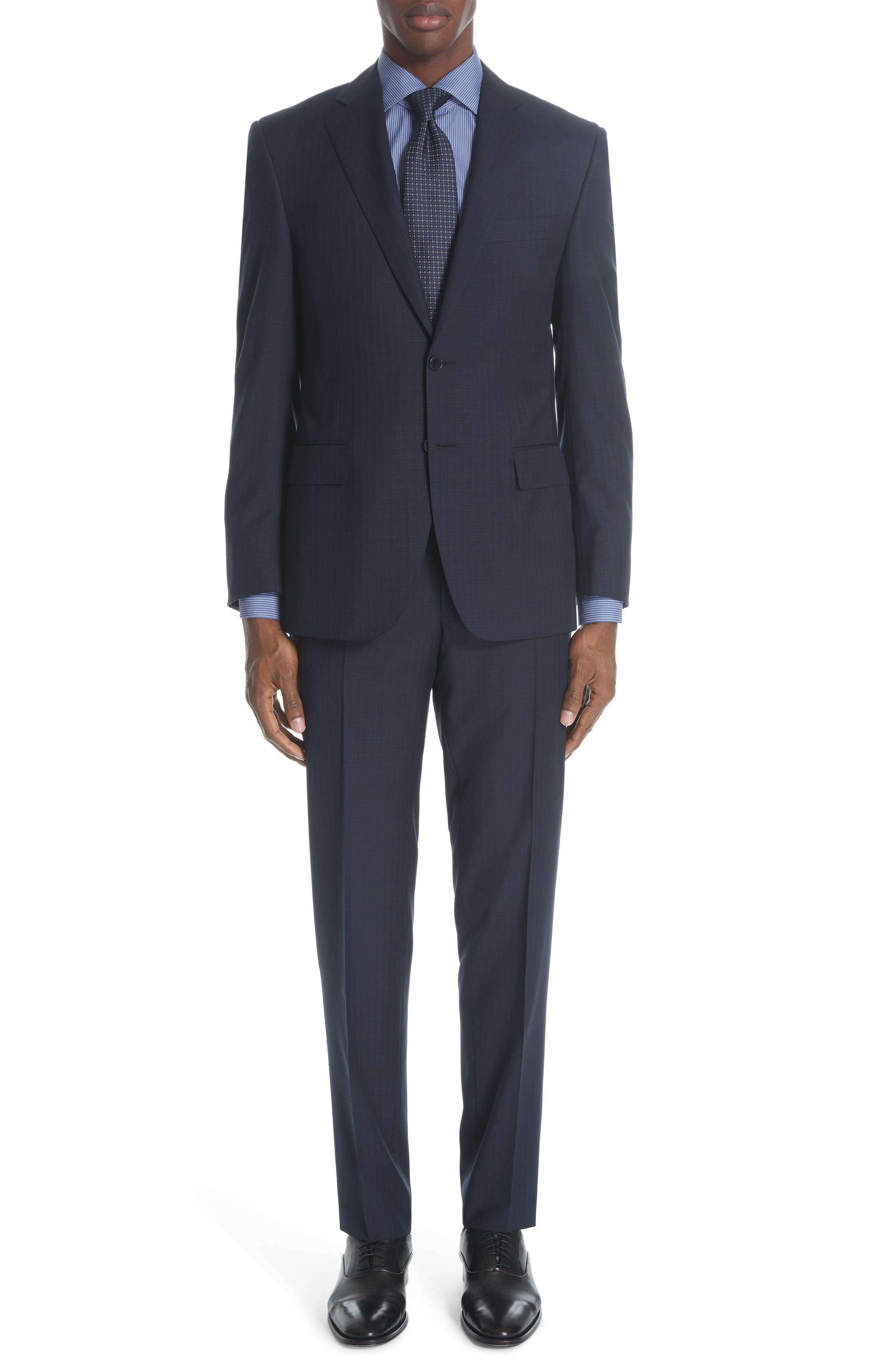 Siena Classic Fit Check Wool Suit, Main, color, NAVY