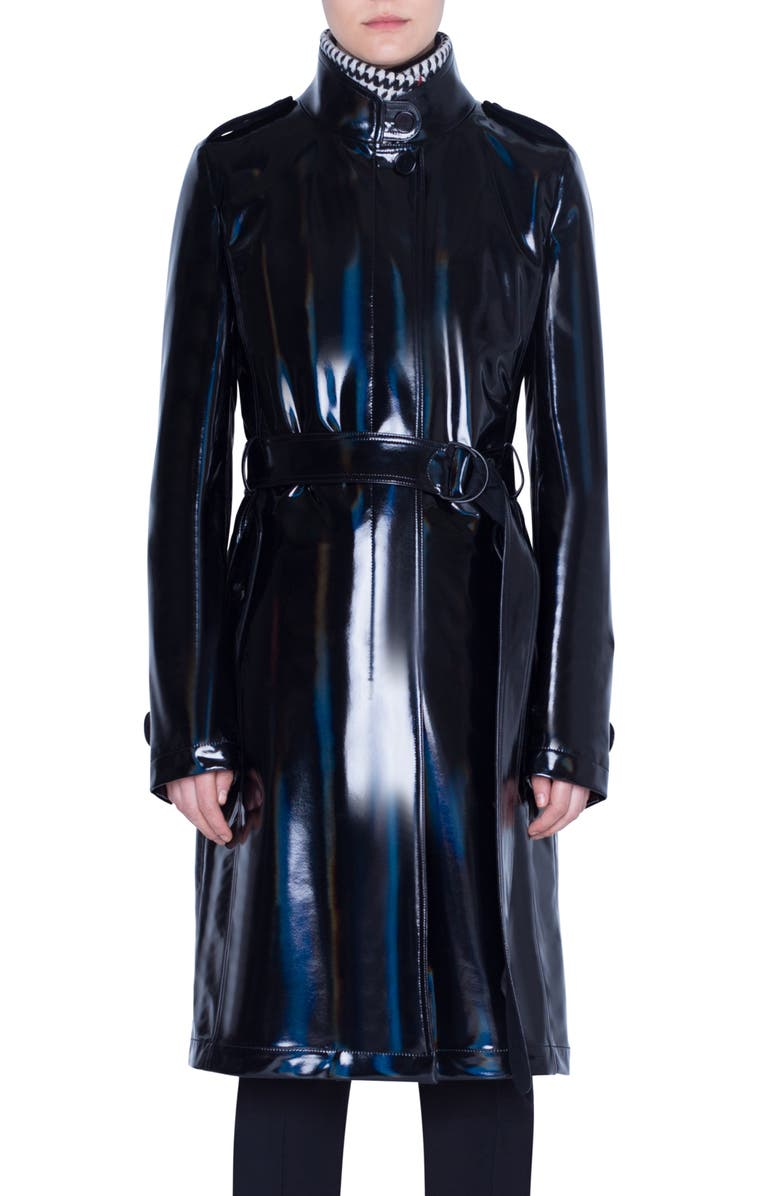 AKRIS PUNTO Lacquered Trench Coat with Removable Glen Check Vest, Main, color, BLACK