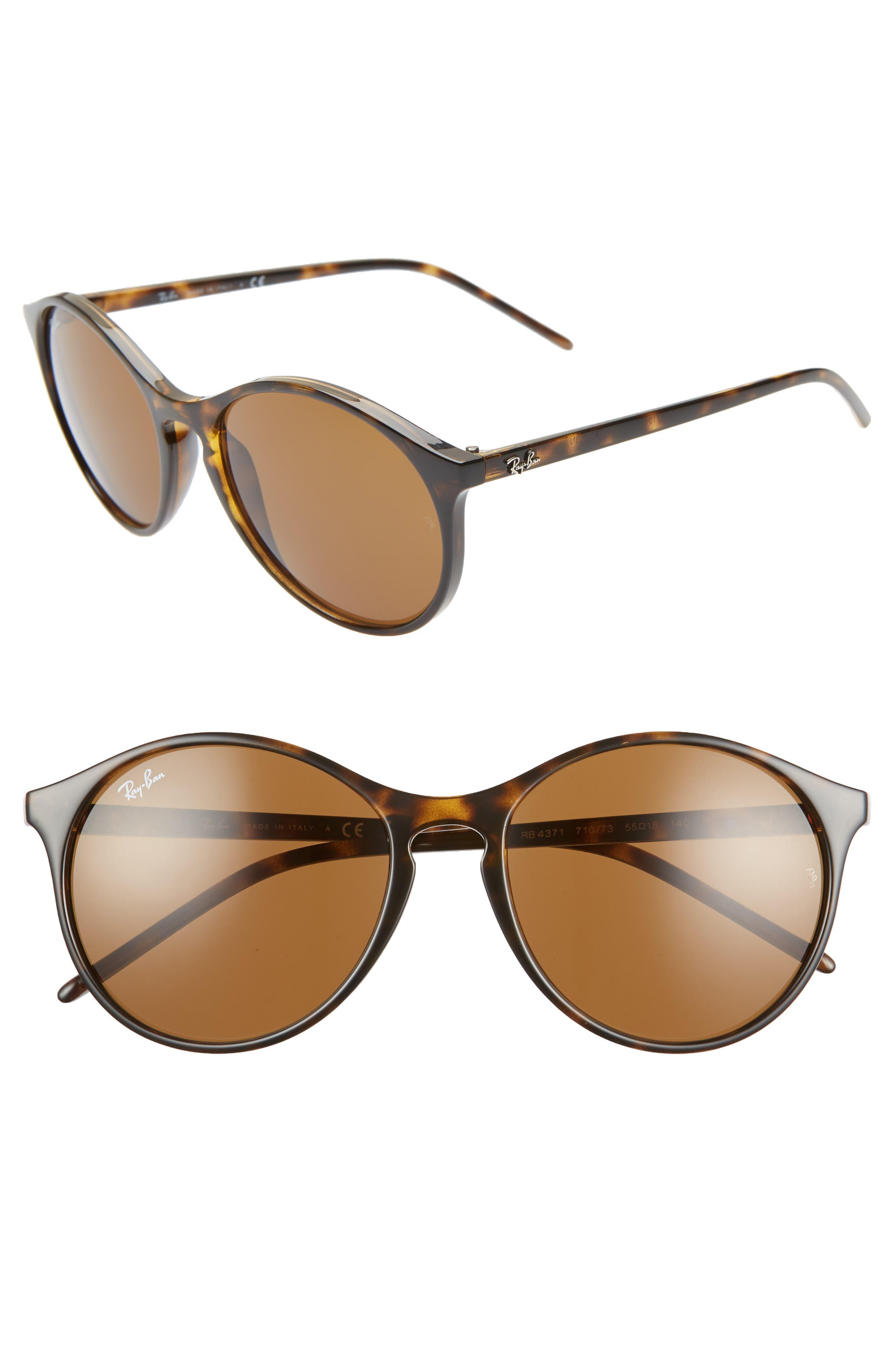 Ray-Ban Highstreet 55Mm Round Sunglasses - Havana/ Green Solid