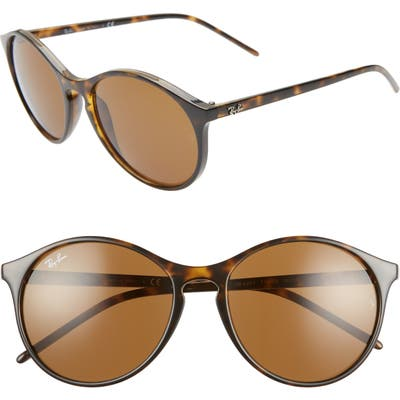 Ray-Ban Highstreet 55Mm Round Sunglasses - Havana/ Green Solid