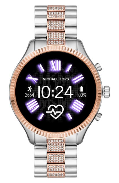 Michael Kors Access Michael Michael Kors Lexington 2 Pave Crystal Bracelet Smart Watch, 44mm In Silv Multi/color Display/rsgld