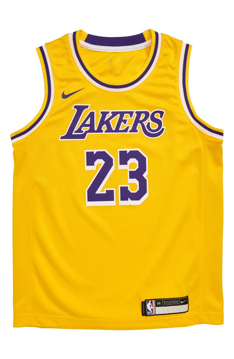 NIKE NBA Los Angeles Lakers LeBron James Basketball Jersey, Main, color, GOLD