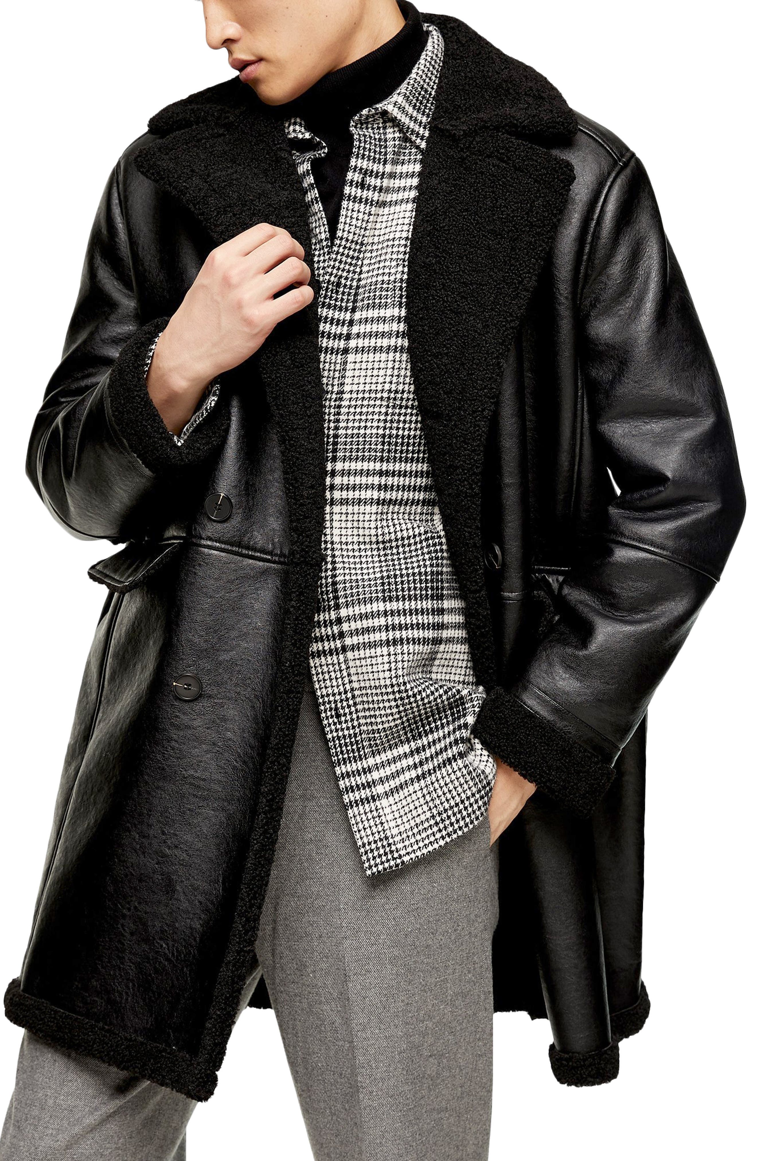 Men/'s Custom made branded leather jacket Men/'s long coat real fox fur Hoodie