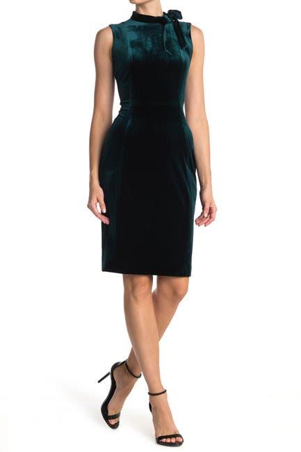 Image of Calvin Klein Velvet Sleeveless Tie Neck Sheath Dress