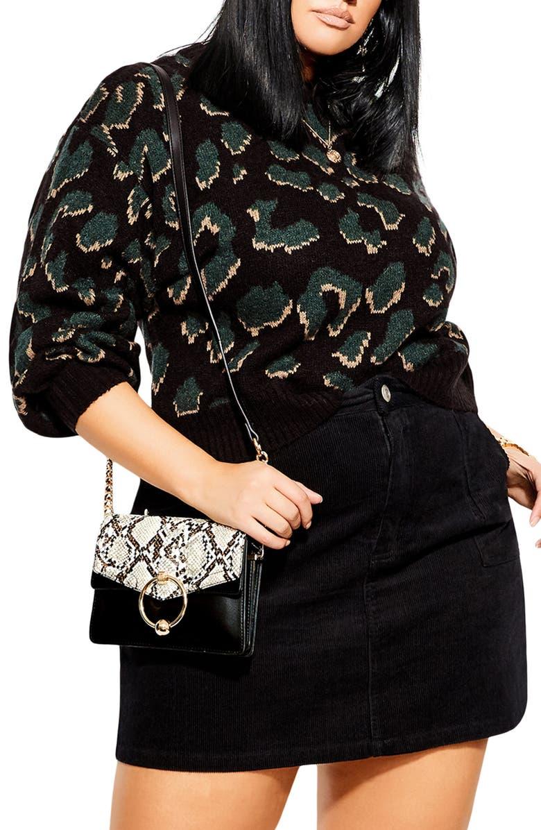 CITY CHIC Wild Animal Print Sweater, Main, color, WILD BLACK