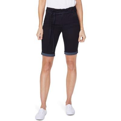 Nydj Briella Paperbag Waist Denim Bermuda Shorts, Blue