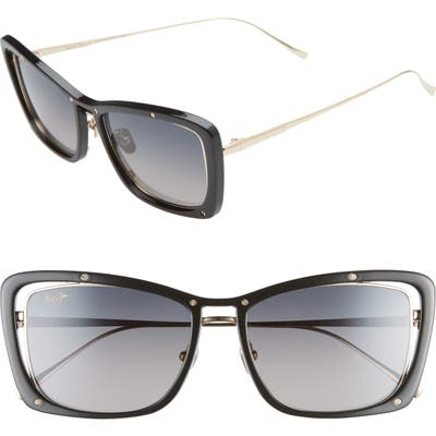 Maui Jim Adrift 5m Polarized Cat Eye Sunglasses - Black/ Shiny Gold/ Grey