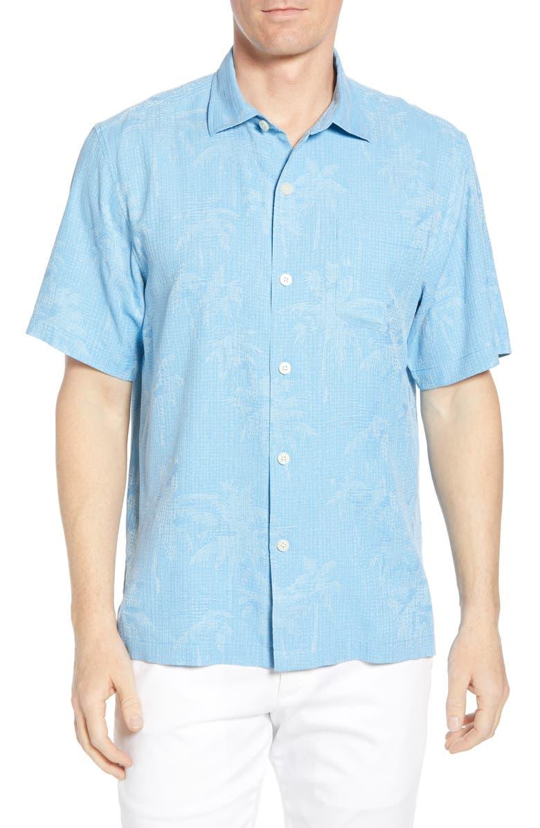TOMMY BAHAMA Digital Palms Classic Fit Silk Shirt, Main, color, GLASS BEAD BLUE