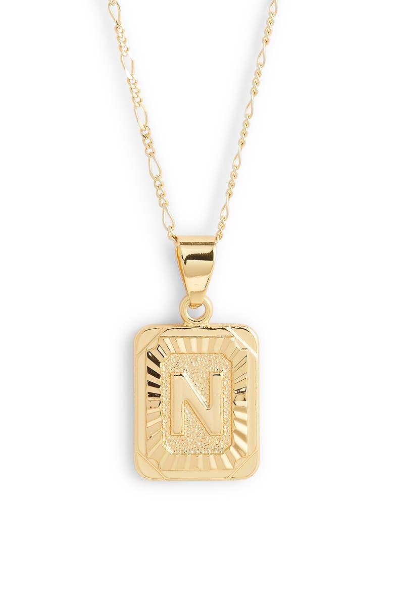 BRACHA Initial Pendant Necklace, Main, color, GOLD-N