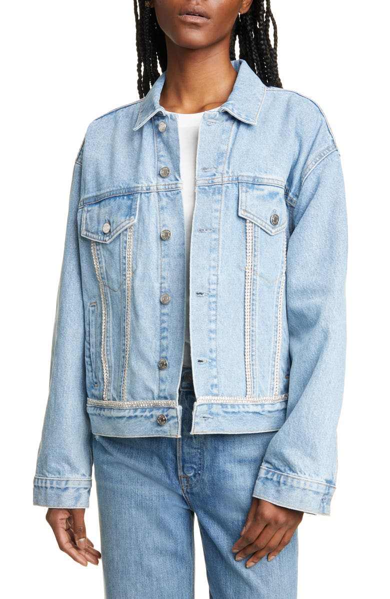 GRLFRND Kim Crystal Trim Denim Trucker Jacket, Main, color, STONED LOVE