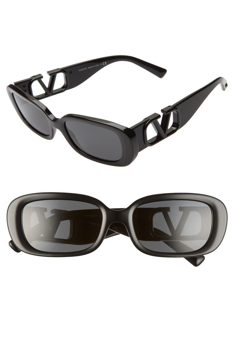 VALENTINO 53mm Polarized Rectangle Sunglasses, Main, color, BLACK/ SMOKE SOLID