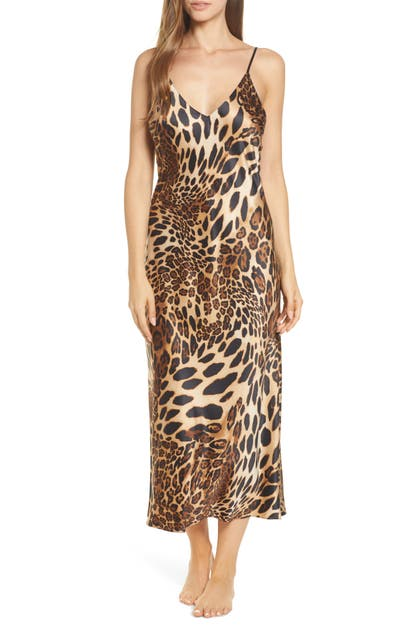 Natori Tops LEOPARD PRINT SATIN NIGHTGOWN
