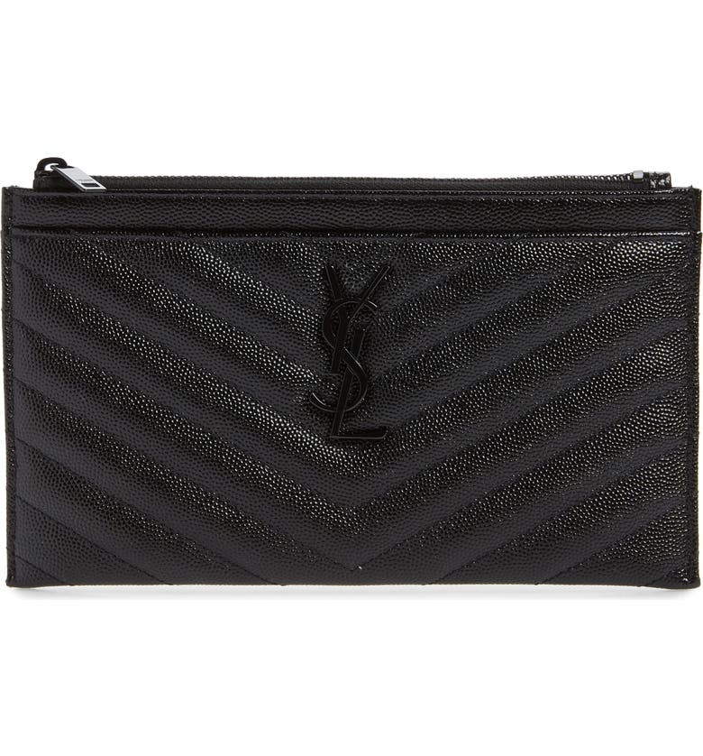 SAINT LAURENT Monogramme Quilted Calfskin Zip Pouch, Main, color, NOIR