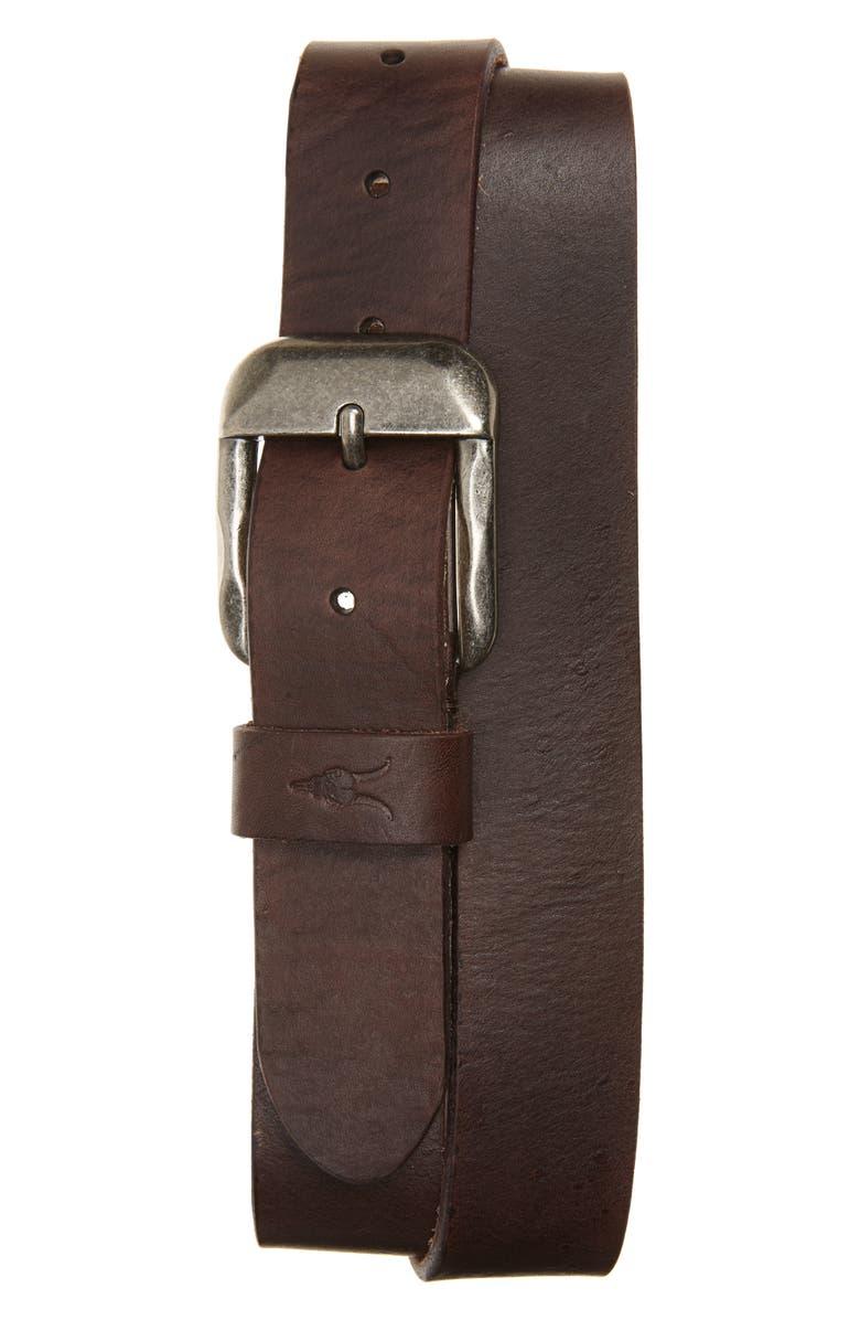 ALLSAINTS Leather Belt, Main, color, BITTER BROWN/ ANTIQUE NICKEL