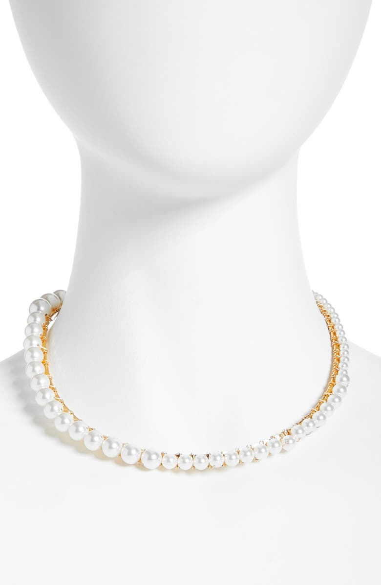 BECK JEWELS Anais Imitation Pearl Choker Necklace, Main, color, WHITE PEARL