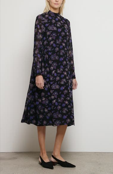 Floral Print Georgette Long Sleeve Midi Dress, video thumbnail