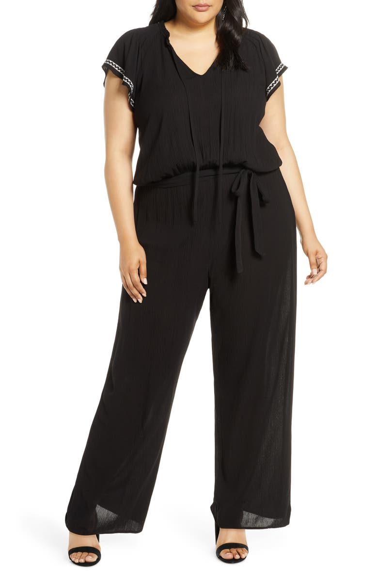 CECE Flutter Sleeve Embroidered Jumpsuit, Main, color, RICH BLACK