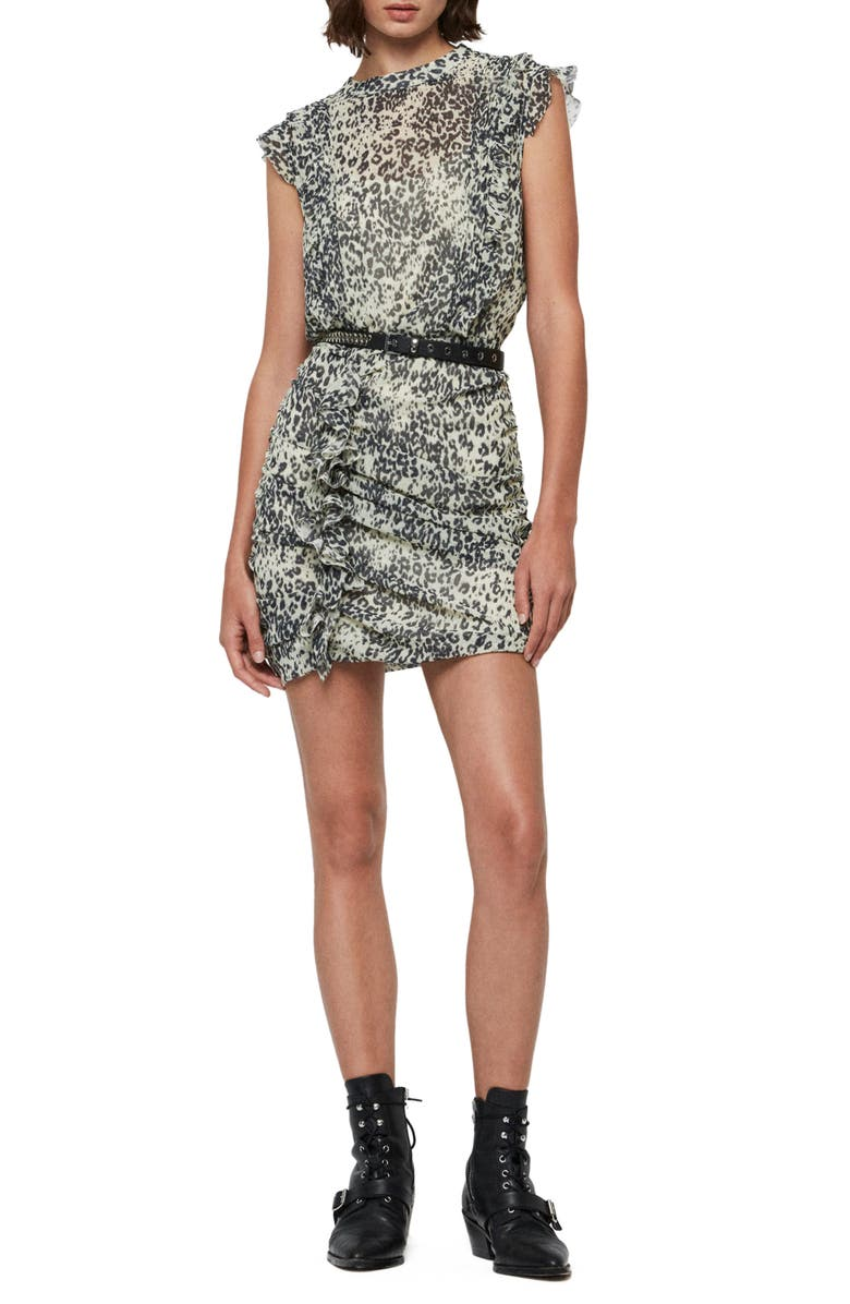 ALLSAINTS Hali Patch Leopard Print Open Back Minidress, Main, color, 900