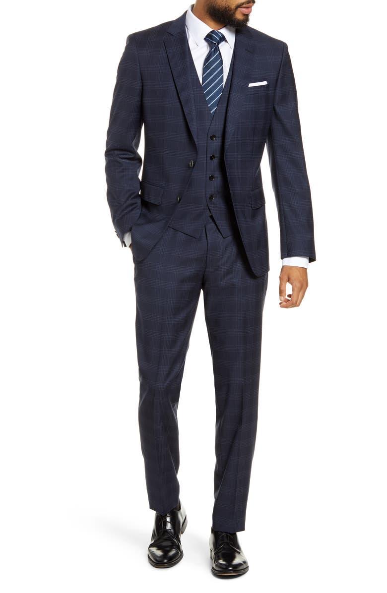 BOSS Huge/Genius/We Trim Fit Plaid Wool Three Piece Suit, Main, color, NAVY WINDOWPANE
