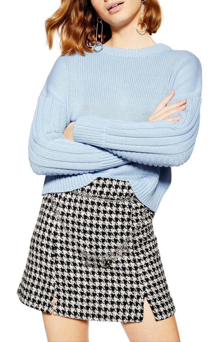 TOPSHOP Ribbed Sleeve Detail Sweater, Main, color, 450