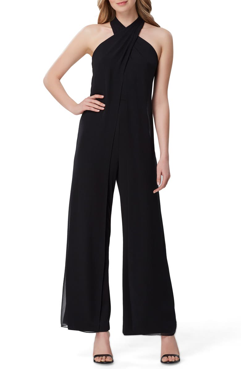 TAHARI Halter Neck Wide Leg Jumpsuit, Main, color, BLACK