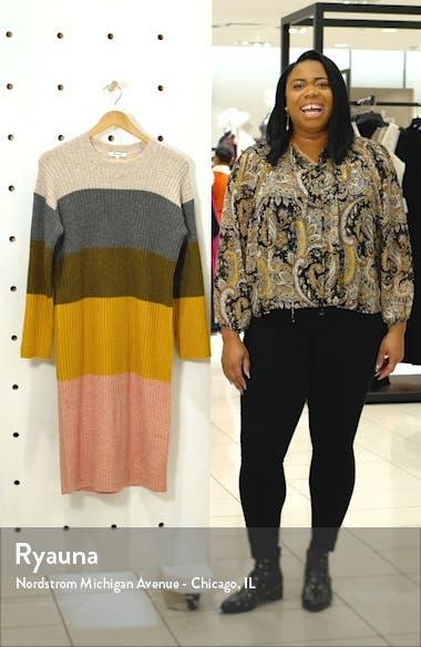 Colorblock Long Sleeve Sweater Dress, sales video thumbnail