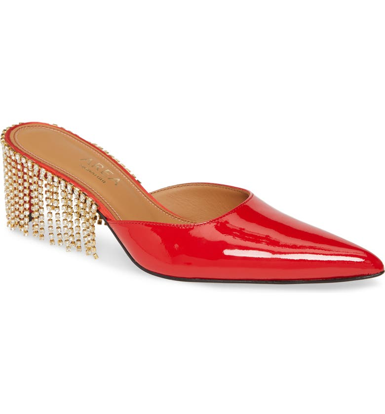 AREA Crystal Fringe Mule, Main, color, 600