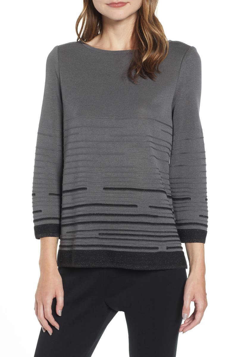 MING WANG Broken Stripe Knit Tunic, Main, color, GRANITE/ BLACK