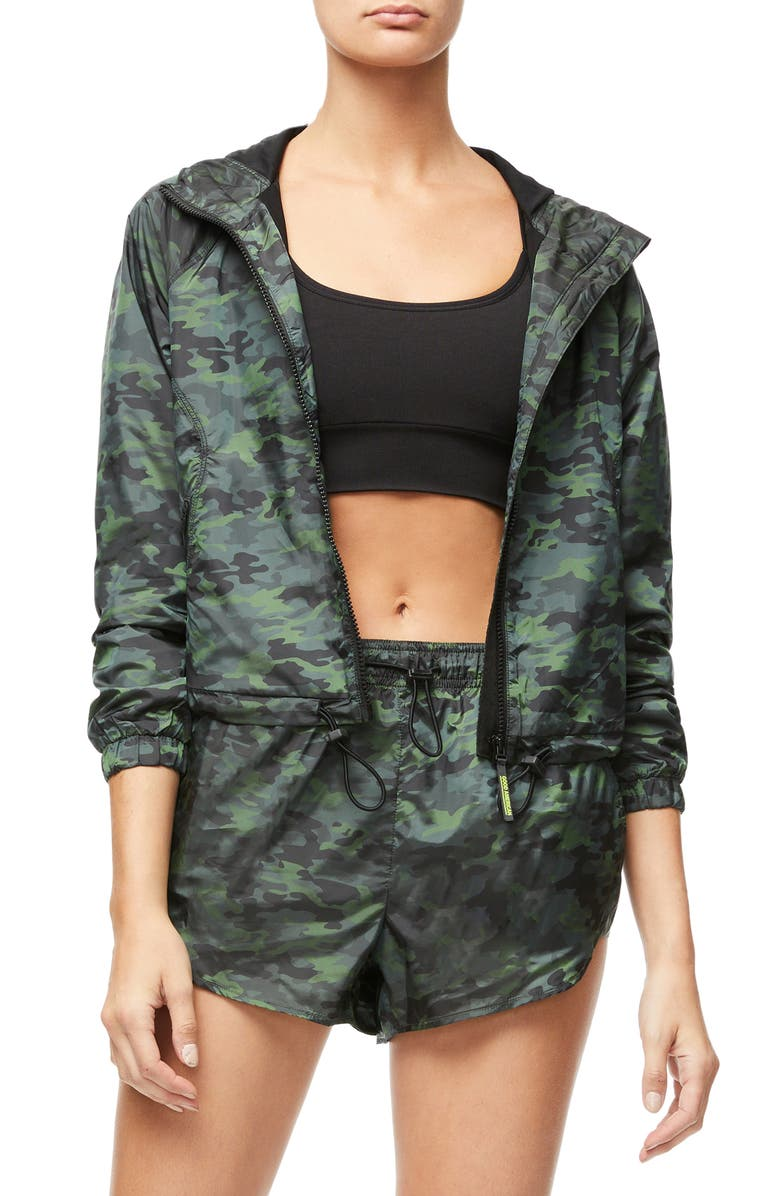 GOOD AMERICAN Gloss Camo Jacket, Main, color, CAMO002