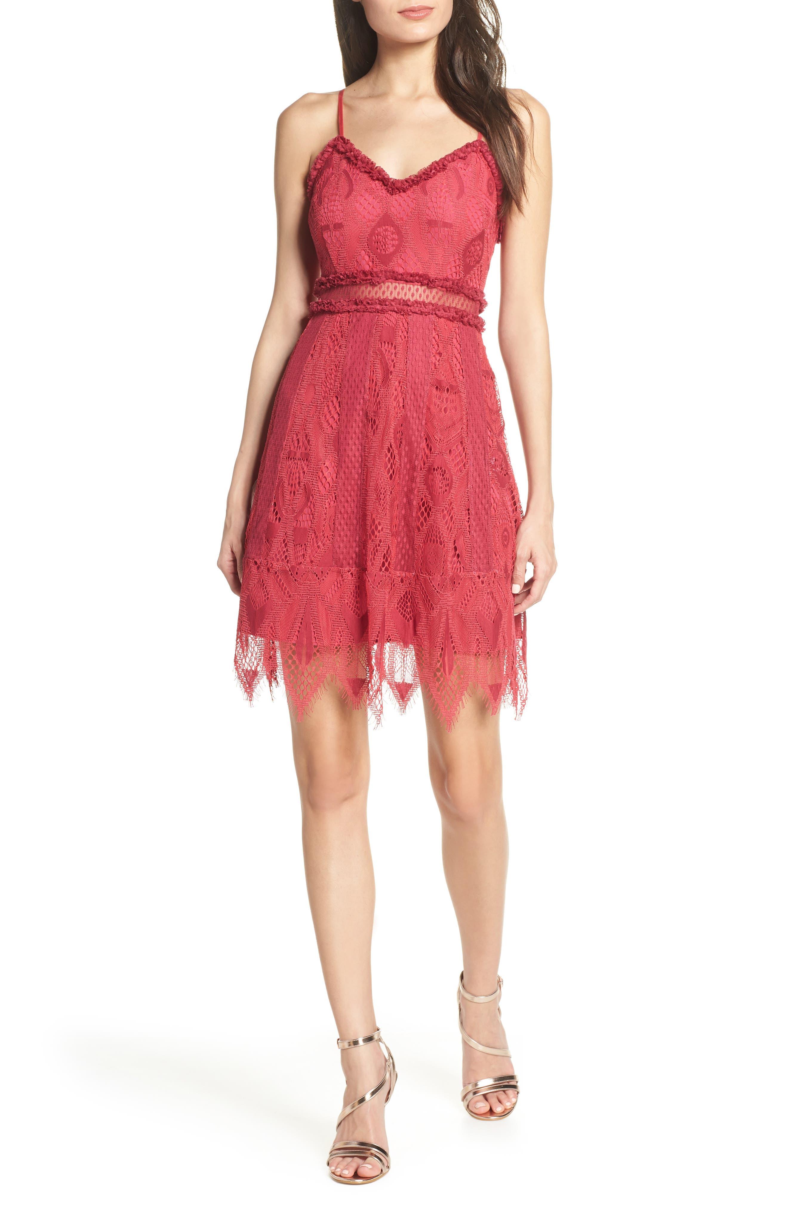 Foxiedox Gloria Lace Minidress, Pink