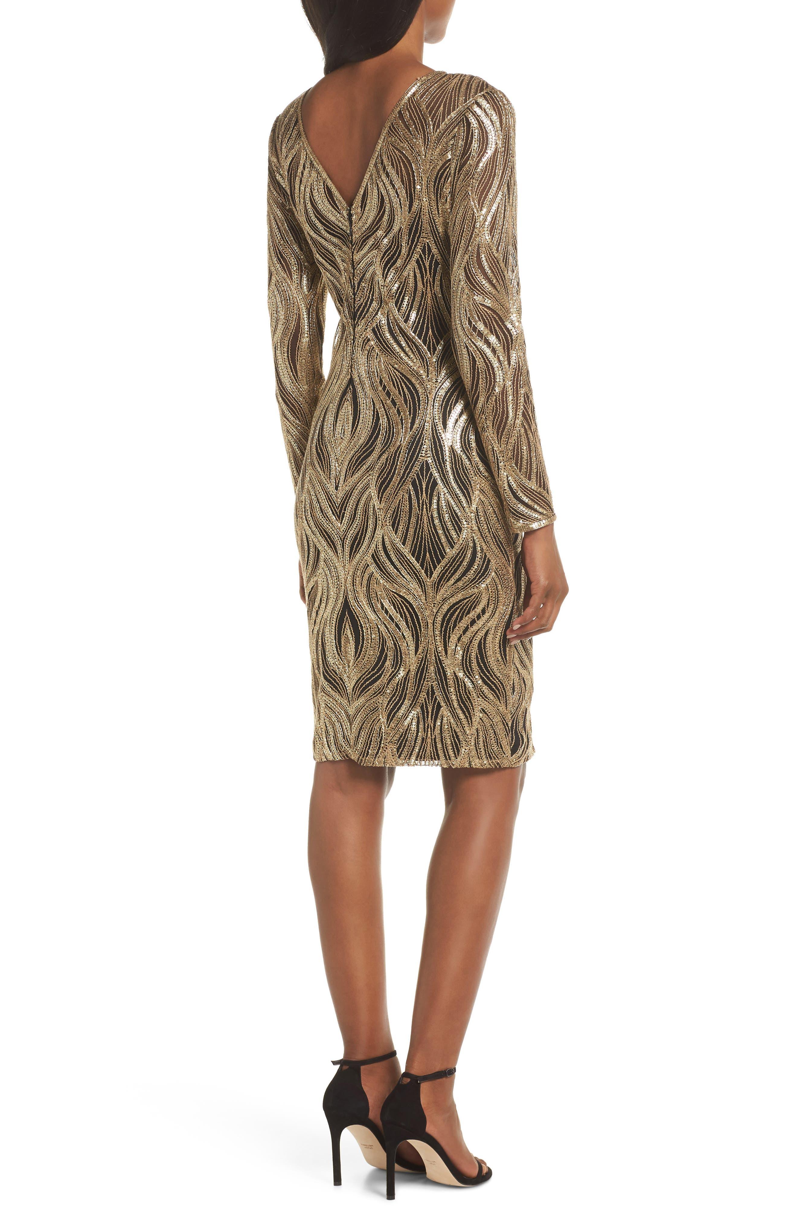 ,                             Long Sleeve Sequin Mesh Cocktail Dress,                             Alternate thumbnail 2, color,                             700