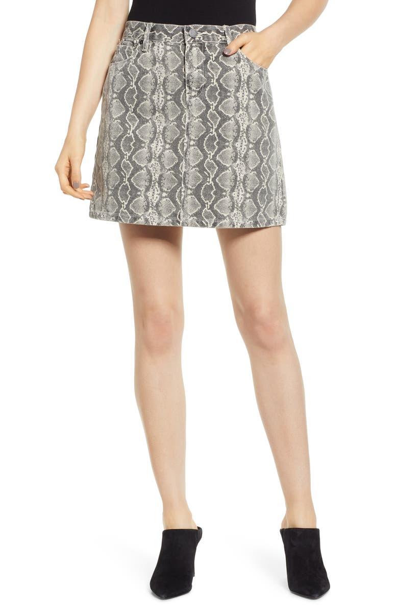BLANKNYC Snake Print Denim Miniskirt, Main, color, SNAKE ALONG
