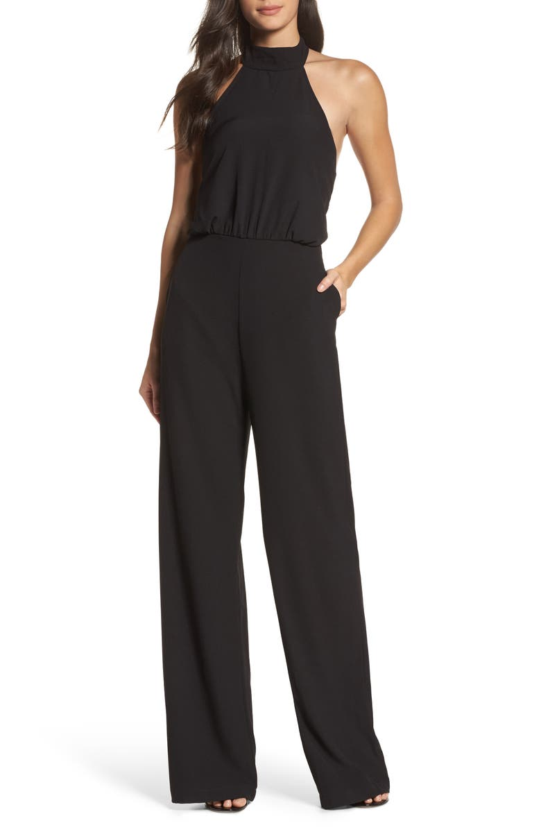 LULUS Moment for Life Halter Jumpsuit, Main, color, BLACK