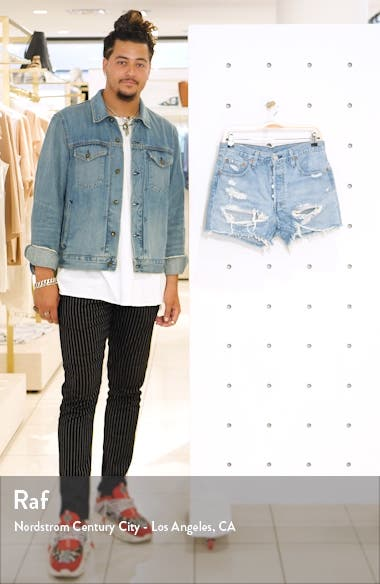 501<sup>®</sup> High Waist Ripped Cutoff Denim Shorts, sales video thumbnail