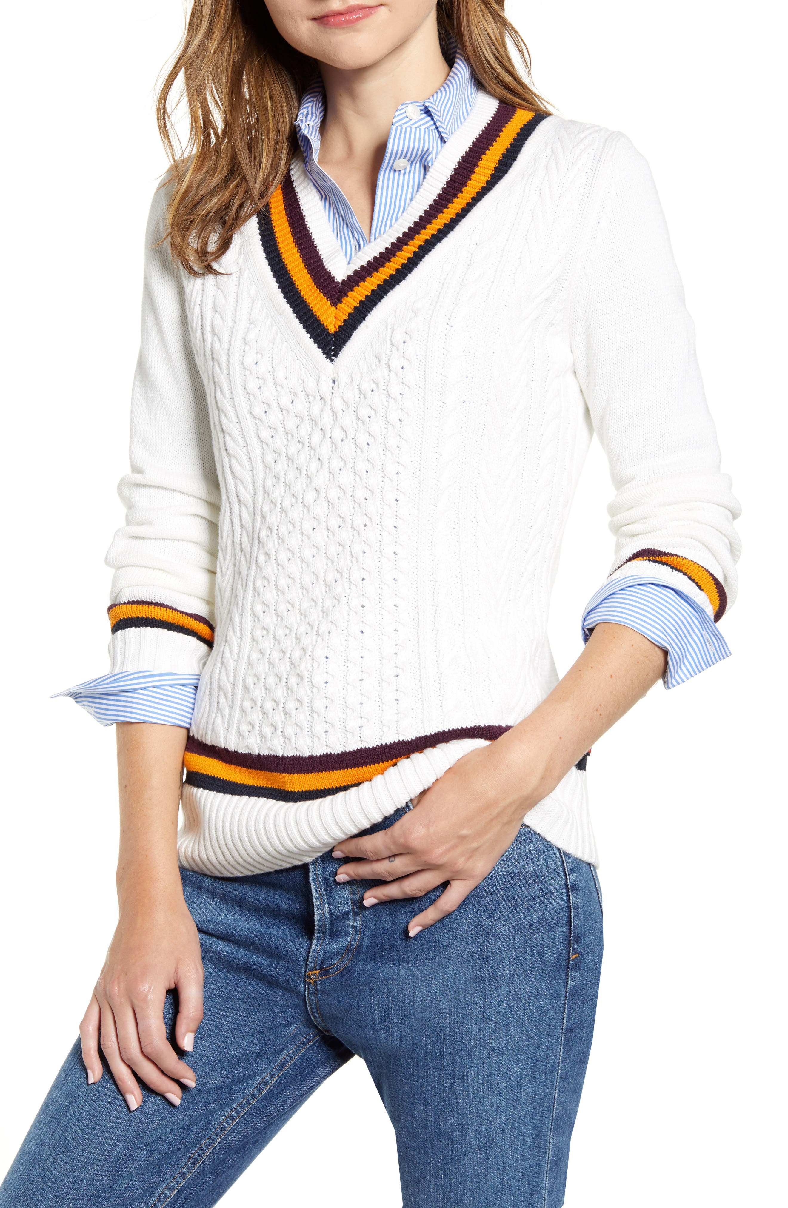 Ladies Colorful 1920s Sweaters and Cardigans History Womens Tommy Hilfiger Tipped V-Neck Varsity Sweater Size X-Small - Ivory $89.00 AT vintagedancer.com