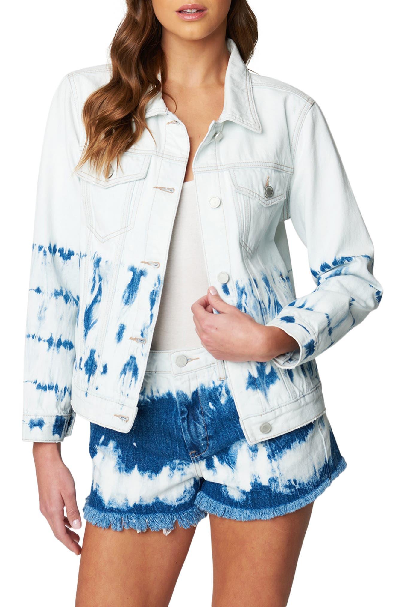Women's Blanknyc Bleach Tie Dye Denim Trucker Jacket, Size Small - Blue