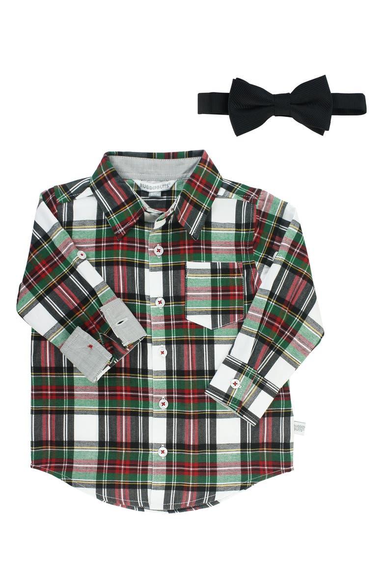RuggedButts Plaid Shirt Bow Tie Set Baby